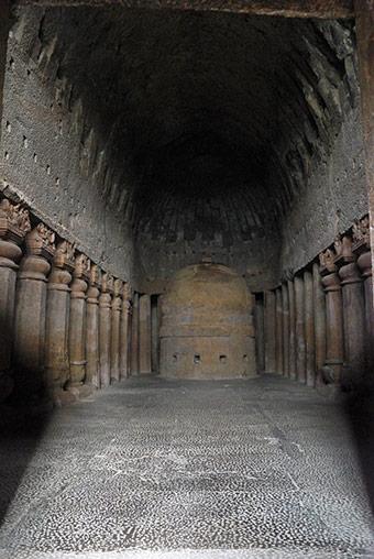 Kanheri Caves hall of cave 3