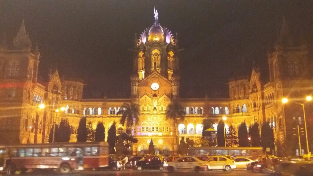 Victoria Terminus at night
