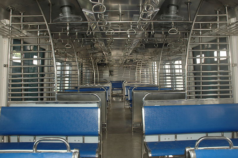 inside view of a mumbai local train