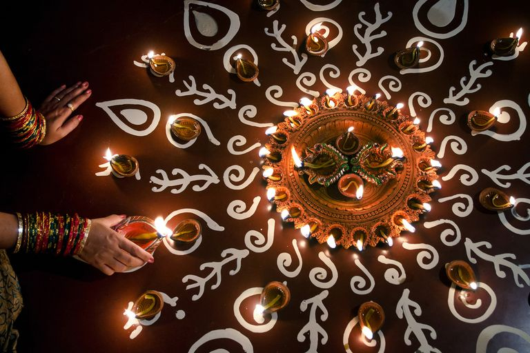 Diwali lights and rangoli